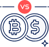 Bitcoin and dollar coin